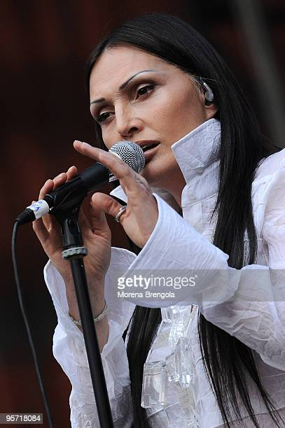 Singer Anna Oxa performs at the charity concert Amiche Per L'Abruzzo on June 21 2009 in Milan Italy