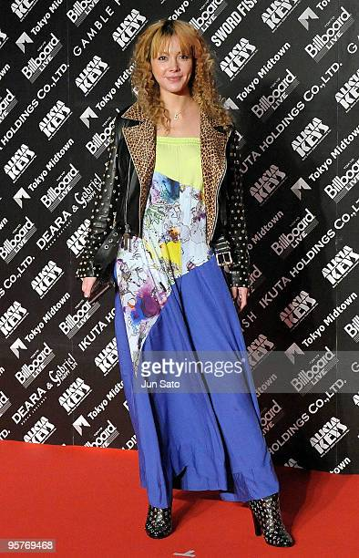 Singer Anna Tsuchiya attends the photocall during Alicia Keys's latest album promotion 'The Element Of Freedom' at Tokyo MidTown on January 14 2010...