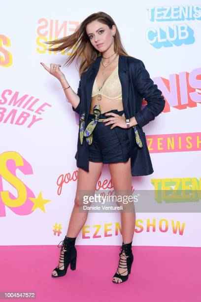 Singer Annalisa attends Tezenis show on July 24 2018 in Verona Italy