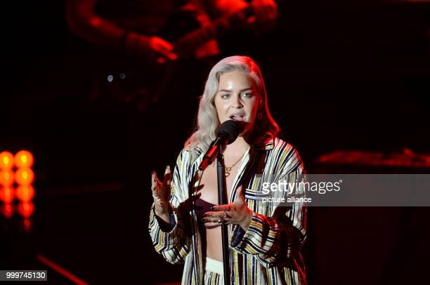 Singer AnneMarie performs at the German Radio Award 2017 at the plaza of the Elbphilharmonie concert hall in Hamburg Germany 7 September 2017 The...