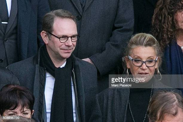Singer Annie Chancel aka Sheila leaves the funeral of French singer Michel Delpech at Saint Sulpice church on January 8 2016 in Paris France