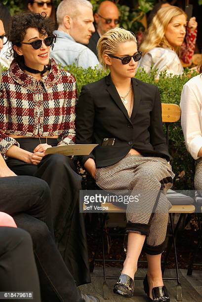 Singer Annie Clark of St Vincent and actress Kristen Stewart at the CFDA/Vogue Fashion Fund Show and Tea presented by kate spade new york at Chateau...