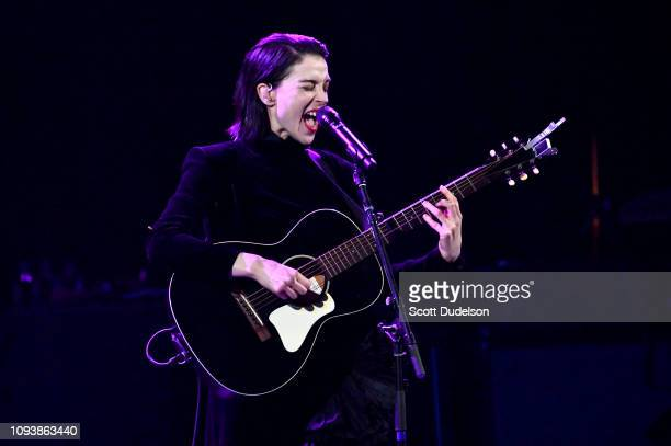 Singer Annie Clark of St Vincent performs a solo acoustic set during The Malibu Love Sesh Benefit Concert at Hollywood Palladium on January 13 2019...