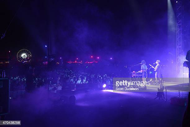 Singer Annie Clark of St Vincent performs onstage during day 2 of the Coachella Music festival at The Empire Polo Club on April 19 2015 in Indio...
