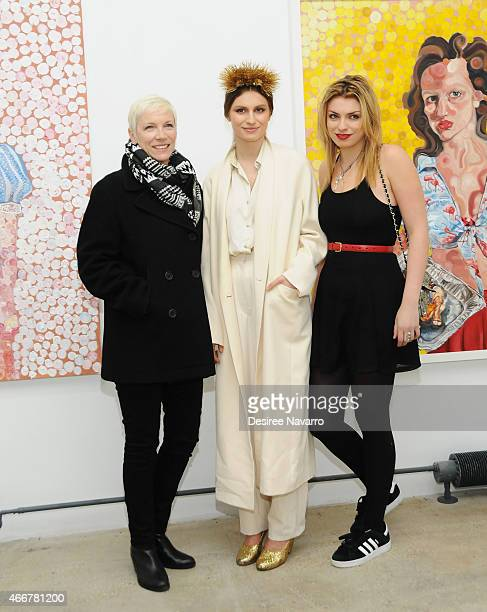 Singer Annie Lennox artist Tali Lennox and Lola Fruchtmann attend Tali Lennox Exhibition Opening Reception at Catherine Ahnell Gallery on March 18...