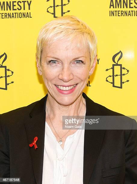 Singer Annie Lennox attends Amnesty International USA's 50th Annual Gathering at New York Marriott Brooklyn Bridge on March 21 2015 in New York City