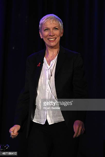 Singer Annie Lennox attends the Amnesty International USA's 50th annual gathering at New York Marriott Brooklyn Bridge on March 21 2015 in New York...