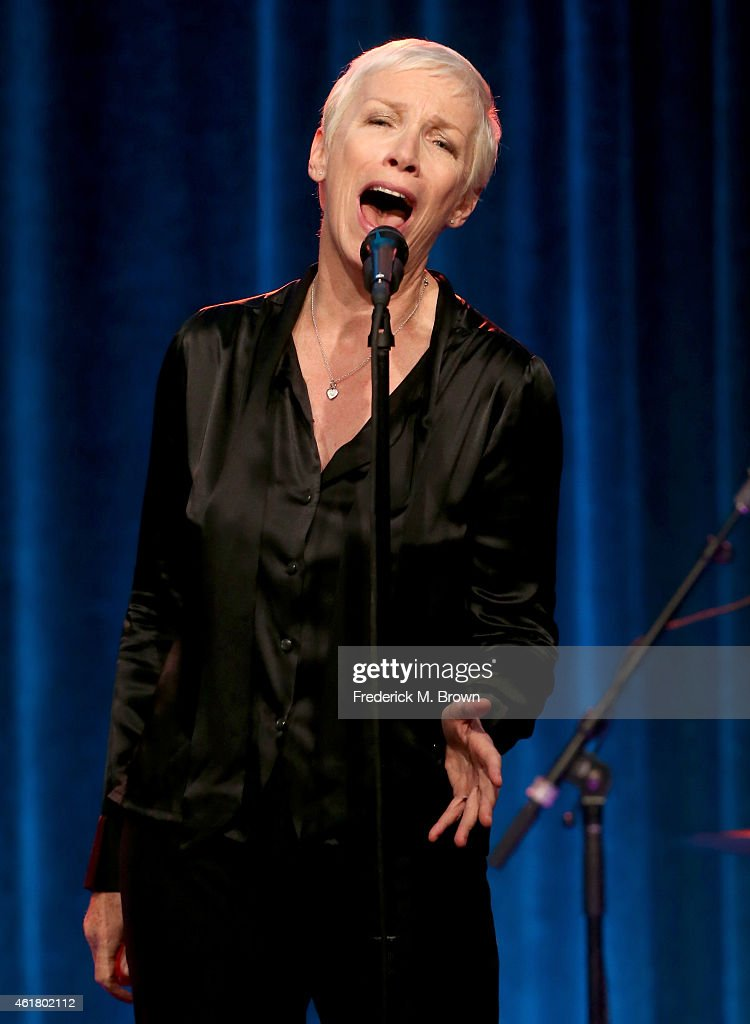 "Singer Annie Lennox speaks onstage during the 'GREAT PERFORMANCES ""Annie Lennox: Nostalgia in Concert""' panel discussion at the PBS Network portion of the Television Critics Association press tour at Langham Hotel on January 19, 2015 in Pasadena, California."