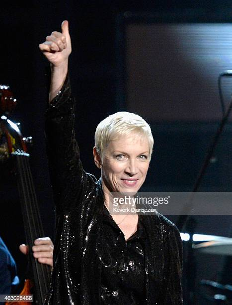 Singer Annie Lenox performs onstage during The 57th Annual GRAMMY Awards at the at the STAPLES Center on February 8 2015 in Los Angeles California