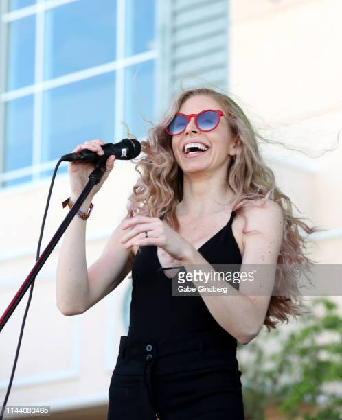 Singer Annie Marie Lewis performs during the Viva Las Vegas Rockabilly Weekend's car show at the Orleans Arena on April 20 2019 in Las Vegas Nevada