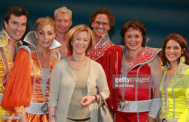Singer AnniFrid Lyngstad of the pop group ABBA poses backstage with the Broadway cast of the ABBA Musical 'Mamma Mia' on Broadway at the Winter...