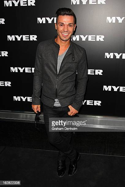 Singer Anthony Callea arrives at the Myer Autumn/Winter 2013 collections launch at Mural Hall at Myer on February 28 2013 in Melbourne Australia