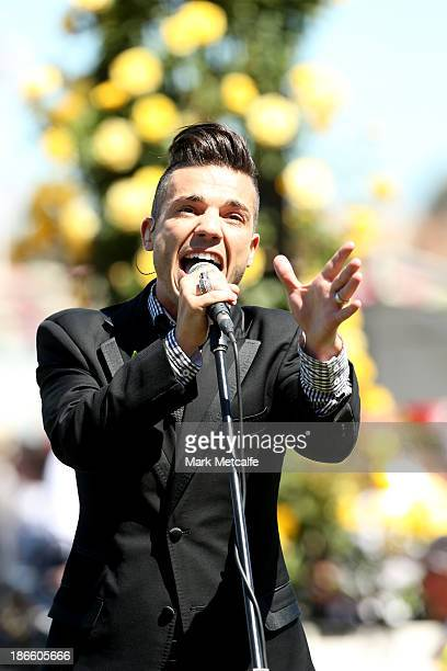 Singer Anthony Callea performers before the AAMI Victoria Derby on Victoria Derby Day at Flemington Racecourse on November 2 2013 in Melbourne...