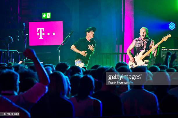 Singer Anthony Kiedis and Michael Balzary of the American band Red Hot Chili Peppers performs live during the 360 degree HD live stream concert as...