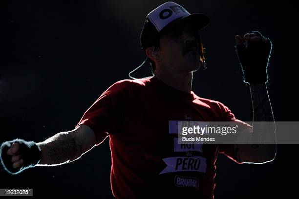 Singer Anthony Kiedis of Red Hot Chili Peppers performs on stage during a concert in the Rock in Rio Festival on September 24 2011 in Rio de Janeiro...