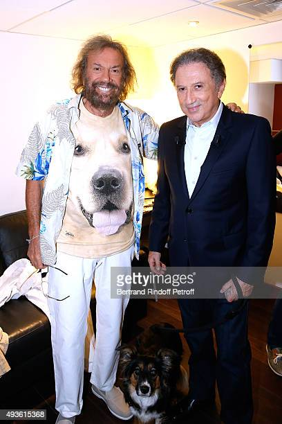 Singer Antoine and Presenter of the Show Michel Drucker attend the 'Vivement Dimanche' French TV Show at Pavillon Gabriel on October 20 2015 in Paris...