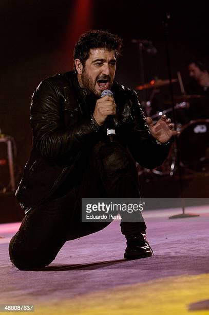 Singer Antonio Orozco performs live in 'La noche de Cadena 100' at Madrid Sports Palace on March 22 2014 in Madrid Spain