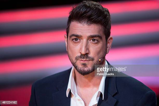 Singer Antonio Orozco presents the new season of 'La Voz' at 'Picasso' studios on January 9 2015 in Madrid Spain