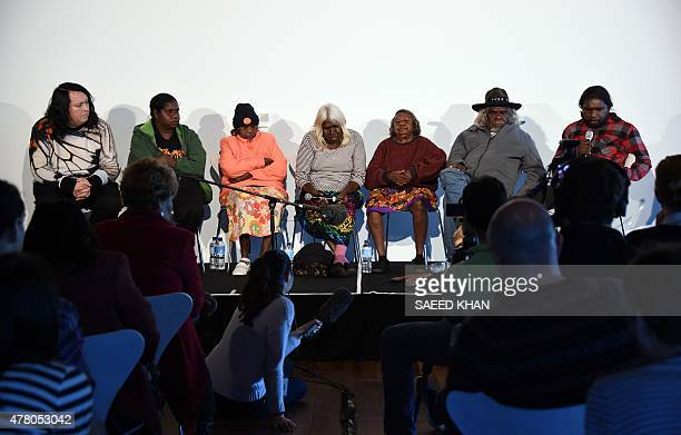 Singer Antony Hegarty looks on as he sits on a stage with Aboriginal artists at Sydney's Museum of Contemporary Art on June 22 2015 The Aboriginal...