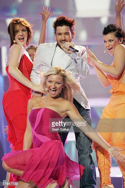 Singer Anzej Dezan of Slovenia performs at the dress rehearsal prior to the semifinals of the 2006 Eurovision Song Contest May 18 2006 in Athens...