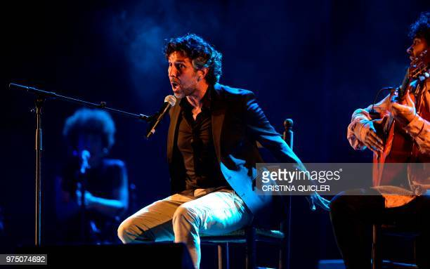 Singer Arcangel performs during a tribute to flamenco singer and guitarist Manuel Molina on the third anniversary of his death on June 14 2018 in...