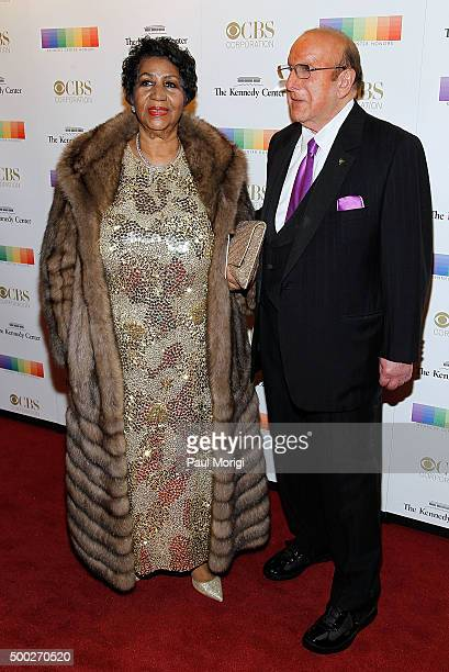 Singer Aretha Franklin and Clive Davis attend the 38th Annual Kennedy Center Honors Gala at John F Kennedy Center for the Performing Arts on December...