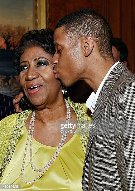 Singer Aretha Franklin and Kecalf Cunningham attend Aretha Franklin's 72nd Birthday Celebration on March 22 2014 in New York City