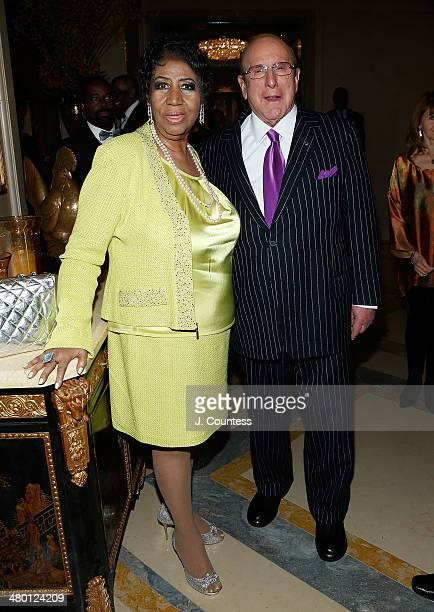 Singer Aretha Franklin and music executive Clive Davis attend her Aretha Franklin's 72nd Birthday Celebration at the Ritz Carlton on March 22 2014 in...