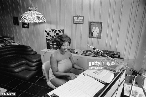 Singer Aretha Franklin at Home