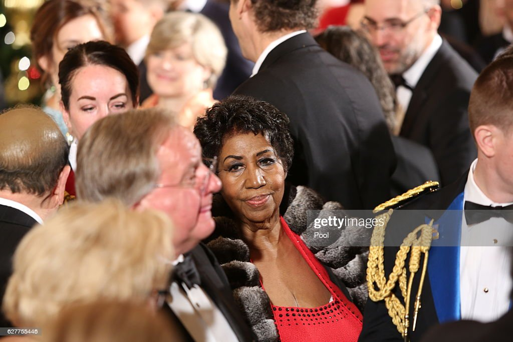 Singer Aretha Franklin attends a ceremony for the 2016 Kennedy Center honorees December 4, 2016 in the East Room of the White House in Washington, DC. The honorees include Eagles band members, actor Al Pacino, singer James Taylor, pianist Martha Argerich and singer Mavis Staples.
