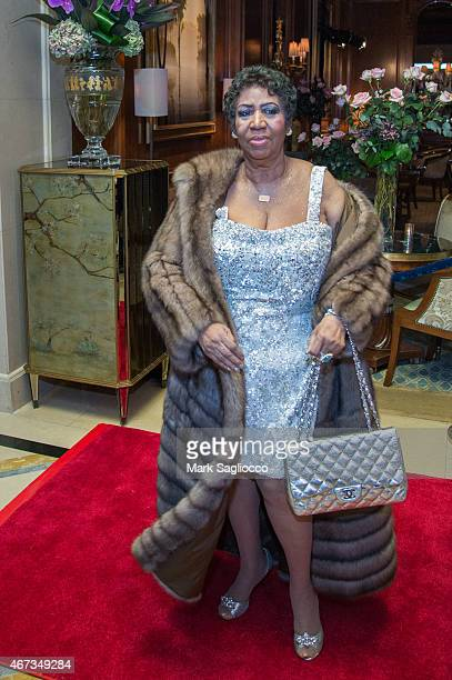 Singer Aretha Franklin attends the Aretha Franklin Birthday Celebration at the Ritz Carlton Hotel on March 22 2015 in New York City