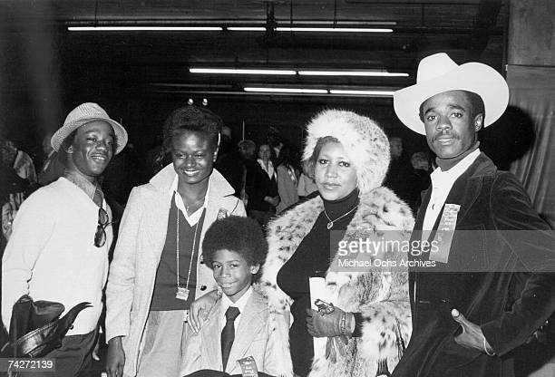 Singer Aretha Franklin attends the Hollywood Christmas parade with her husband actor Glynn Turman and son Kelf in November 1978 in Los Angeles...