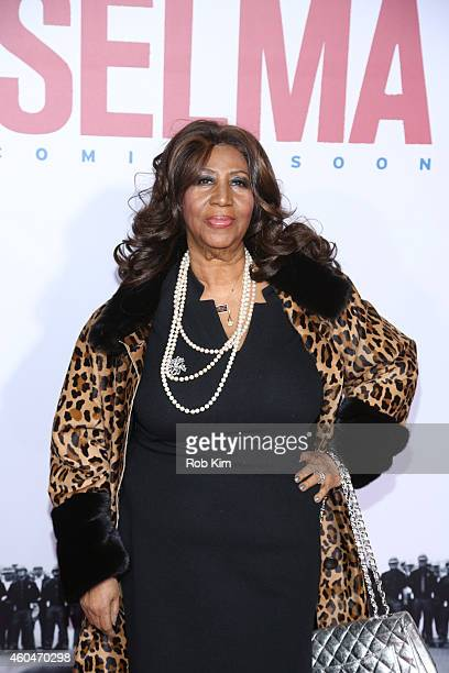 Singer Aretha Franklin attends the Selma New York Premiere at Ziegfeld Theater on December 14 2014 in New York City