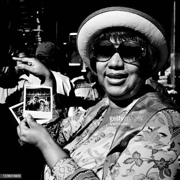 Singer Aretha Franklin is photographed during preparations for the first concert for the Rock and Roll Hall of Fame & Museum on September 2, 1995 in...