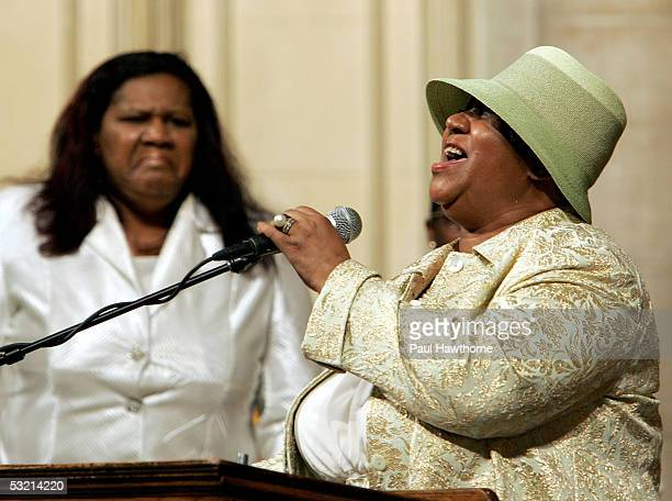 Singer Aretha Franklin performs Amazing Grace during the funeral of Luther Vandross at Riverside Church July 8 2005 in New York City