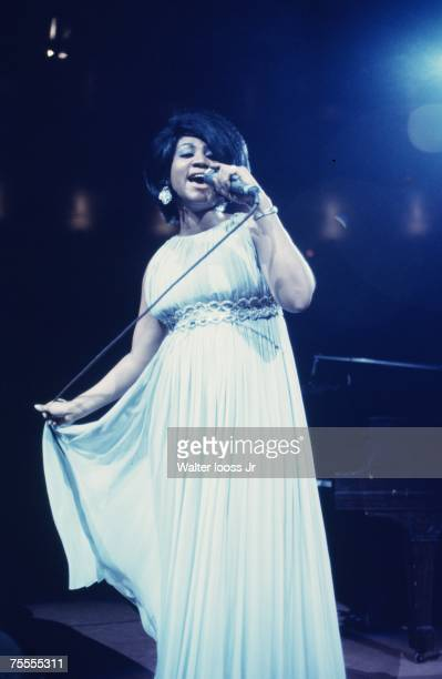 Singer Aretha Franklin performs during a concert at Madison Square Garden on June 28 1968 in New York City New York