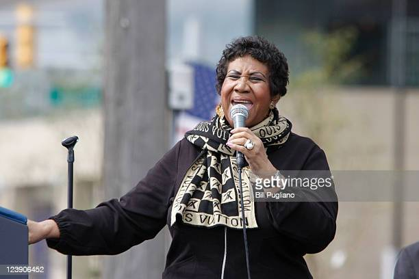 Singer Aretha Franklin performs during a Labor Day event sponsored by the Metro Detroit Central Labor Council on September 5 2011 in Detroit Michigan...