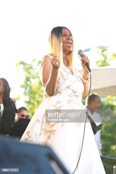 Singer Aretha Franklin performs during the 2017 Detroit Music Weekend on June 9 2017 in Detroit Michigan