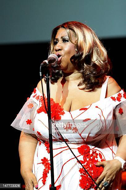 Singer Aretha Franklin performs during the N'Digo Foundation Gala and Concert at the Arie Crown Theater in Chicago Illinois on JUNE 30 2012