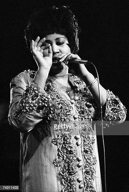 B singer Aretha Franklin performs onstage in Ann Arbor Michigan in 1970