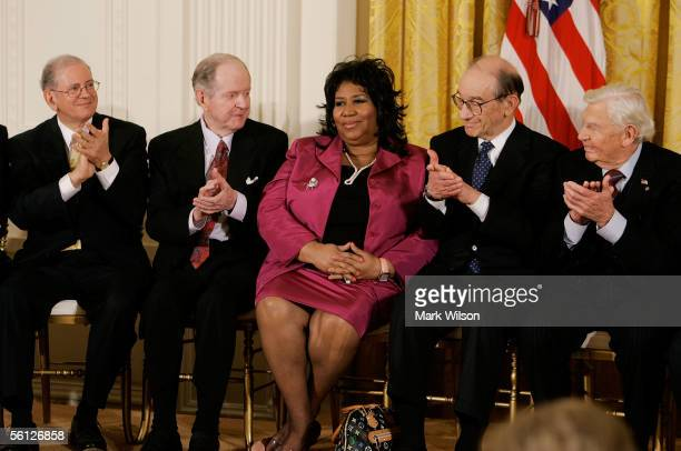 Singer Aretha Franklin recieves applause from internet software designer Robert Kahn historian Robert Conquest outgoing Federal Reserve Board...
