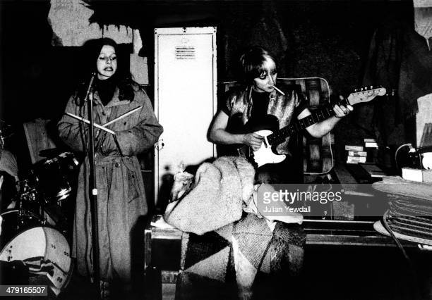 Singer Ari Up and guitarist Kate Korus of British punk group The Slits rehearsing at a squat in Daventry Street London NW1 1977