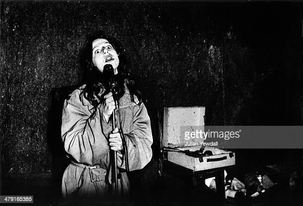 Singer Ari Up of British punk group The Slits rehearsing at a squat in Daventry Street London NW1 1977