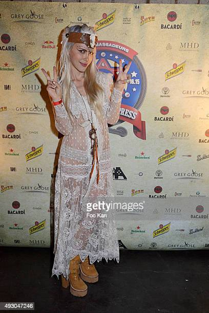 Singer Aria Crescendo attends the 'Wild West Express by Les Ambassadeurs' Party at Studios Docks Pullman La Plaine Saint Denis on October 16 2015 in...