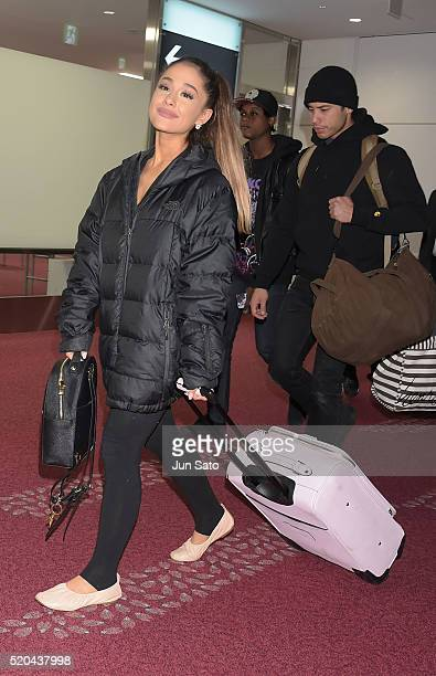 Singer Ariana Grande and boyfriend dancer Ricky Alvarez are seen upon arrival at Haneda Airport on April 11 2016 in Tokyo Japan