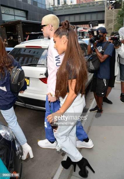 Singer Ariana Grande and Pete Davidson are seen walking in Midtown on July 11 2018 in New York City