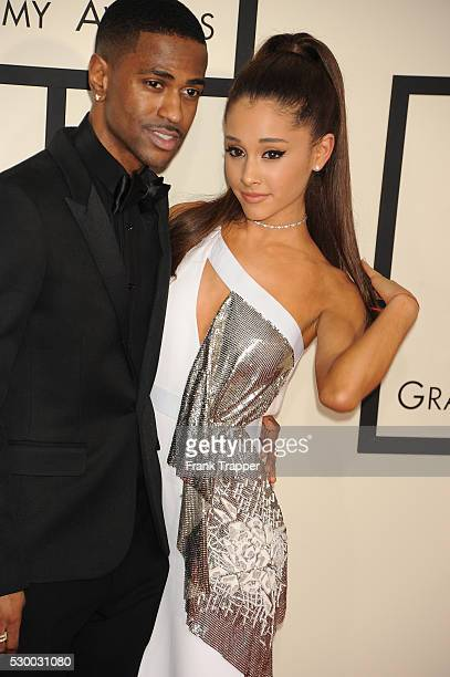 Singer Ariana Grande and rapper Big Sean arrive at The 57th Annual GRAMMY Awards held at the Staples Center