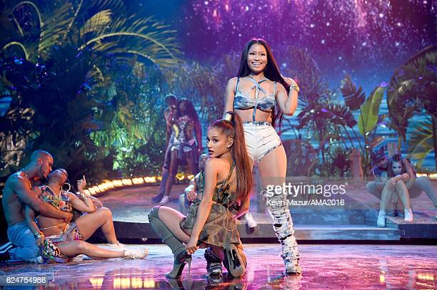 Singer Ariana Grande and rapper Nicki Minaj perform onstage at the 2016 American Music Awards at Microsoft Theater on November 20 2016 in Los Angeles...