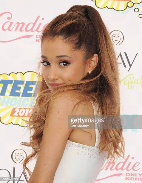 Singer Ariana Grande arrives at the 2014 Teen Choice Awards at The Shrine Auditorium on August 10 2014 in Los Angeles California