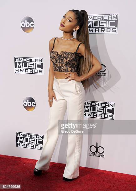 Singer Ariana Grande arrives at the 2016 American Music Awards at Microsoft Theater on November 20 2016 in Los Angeles California